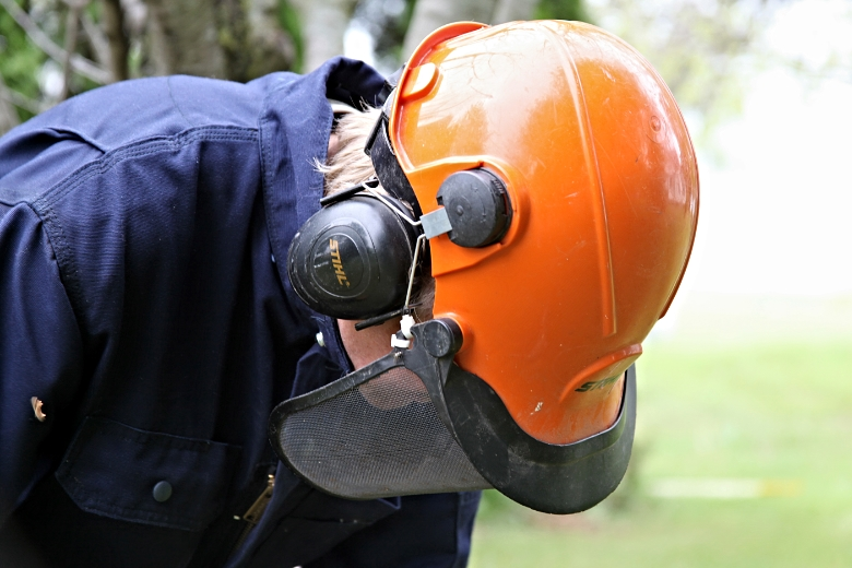 Person using a chain saw